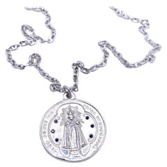 Virgin Mary Pendant Coin Medal Blue Sapphire Silver Chain Necklace J Dauphin