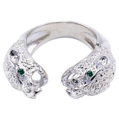 Double Head Jaguar Ring Emerald Silver Cocktail Statement Piece J Dauphin