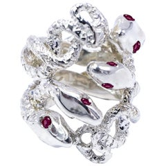 Ruby Snake Ring Silver Statement J Dauphin
