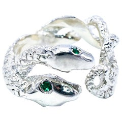 Green Emerald Engagement Ring Snake Silver J Dauphin