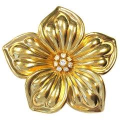 Vintage Van Cleef & Arpels Large Diamond and Gold Magnolia Flower Brooch