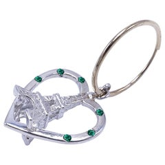 Emerald Earring  Heart Eiffel Tower Dangle Silver Gold J Dauphin