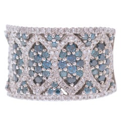 EFFY Blue and White Diamond Wide Band 2.46 Carat 14 Karat White Gold