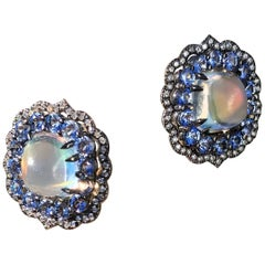 Rainbow Moonstone Earrings with Blue Sapphire and Diamond Accent