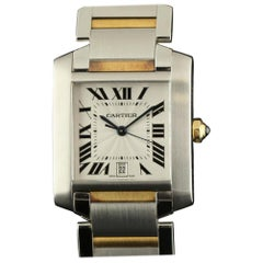 Cartier New Tank Francaise Large W51005Q4 Steel Gold Box/Paper/2 Years Warranty