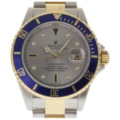 Rolex Submariner 16613 Steel and Gold Serti Diamond Automatic Warranty #160-1