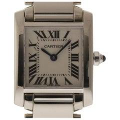 Cartier Tank Francaise Ladies W50012S3 Quartz White Gold Box/Paper/Warranty #192
