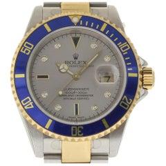 Rolex Submariner 16613 Steel Gold Grey Serti 2006 Box/Paper/Warranty #985