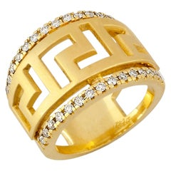 Georgios Collections 18 Karat Yellow Gold Diamond Ring with the Greek Key Design