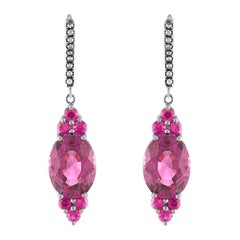Bella Campbell Campbellian Malayan Pink Garnet and Ruby Earrings with Diamonds