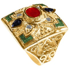 Georgios Collections 18 Karat Yellow Gold Ruby Ring With Emerald and Sapphires