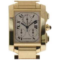 Cartier Tank Francaise Chronoflex W50005R2 Large Yellow Gold 2 Year Warranty