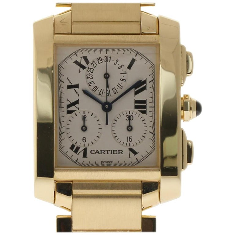 684fdd25c0e0 Cartier Tank Francaise Chronoflex W50005R2 Large Yellow Gold 2 Year  Warranty For Sale at 1stdibs