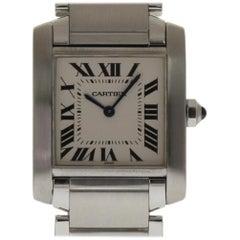 Cartier Tank Francaise WSTA0005 Medium Stainless Steel White 2 Year Warranty
