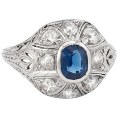 Antique Edwardian Sapphire Diamond Ring Platinum Old Mine Filigree Fine Vintage
