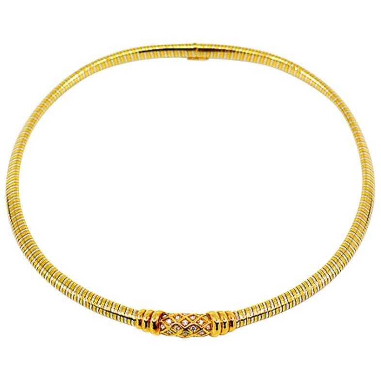 Vintage Cartier Tubogas 18 Karat Two-Tone Diamond Collar Necklace