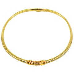 Vintage Cartier Tubogas 18 Karat Two-Tone Diamond Collar Necklace