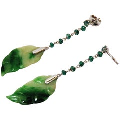 Jade Emeralds 18 Karat Gold Drop Earrings Handcraft in Italy by Botta Gioielli