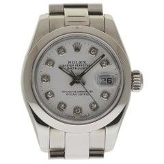 Rolex Datejust 179160 Stainless Steel White Diamond 2005 2 Year Warranty #87-4