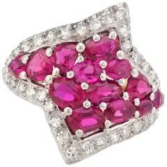 Vintage J Roca Ruby Diamond Wide Band Ring 18 Karat Gold Platinum Estate Jewelry