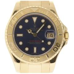 Rolex Yacht-Master 68628 Yellow Gold Blue 1993 Box/Paper/2 Year Warranty #I1458
