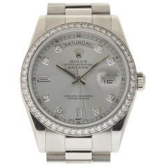 Rolex Day-Date President 118346 Platinum Diamond 2000 2 Year Warranty #1726
