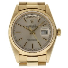 Rolex Day-Date President 18038 36mm Silver Yellow Gold 1980 2YrWarranty #I1349