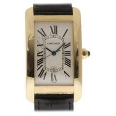 Cartier Tank Americaine W2603156 18 Karat Gold Leather 2 Year Warranty #I1875