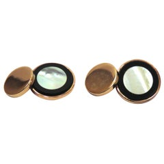 Rose Gold Onyx Mother Pearl Cufflinks Handcraft in Italy by Botta Gioielli