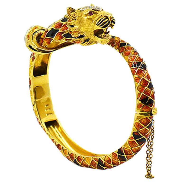 Vintage Italian Tige Enamel Diamond Bangle Bracelet, 18 Karat Yellow Gold