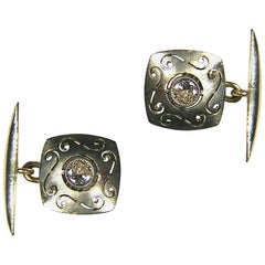 Diamonds Gold Carved Antique Cufflinks