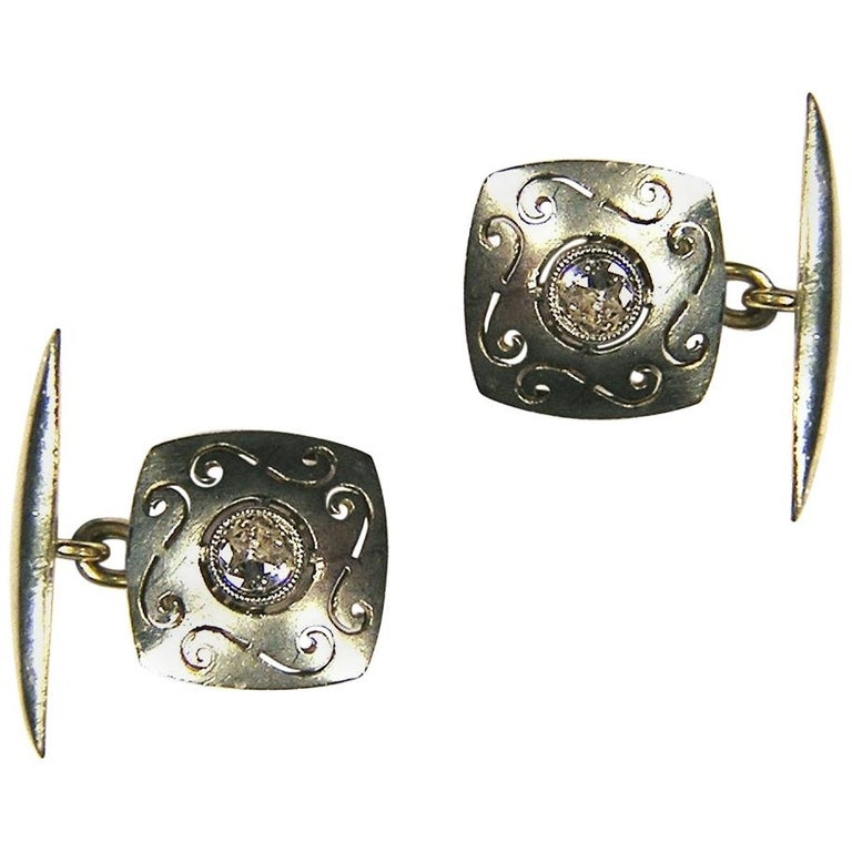 Antique Diamonds Silver Yellow Gold Carved Cufflinks For Sale
