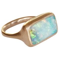 Dalben Rectangular Australian Boulder Opal Rose Gold Ring