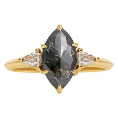 Rachel Boston 18ct Yellow Gold and Marquise Rose Cut Imperfect Diamond Ring