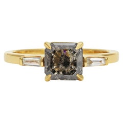 Rachel Boston 18ct Yellow Gold and Asscher Cut Imperfect Diamond Ring