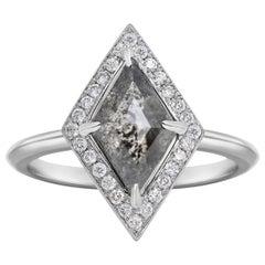 Rachel Boston 18ct White Gold and Geometric Rose Cut Imperfect Diamond Ring