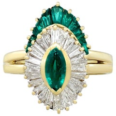 Emerald and Diamond Cocktail Ring in Yellow Gold