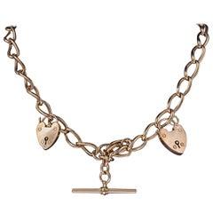 Antique Victorian 9 Carat Rose Gold Albert Chain Necklace, circa 1880