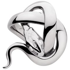 Sylvie Corbelin Signature Snake Ring in Patinated Silver and Diamonds