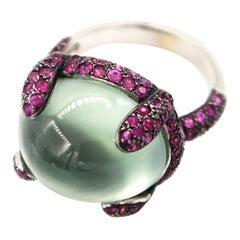 Cabochon Green Amethyst Gold Ring Pavé Pink Sapphire