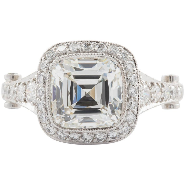 Tiffany Co Gia Certified 2 75 Carat Cushion Cut I Vvs2 Engagement Ring