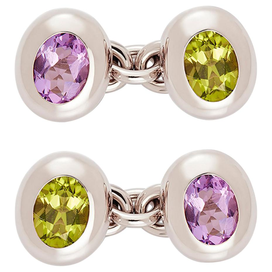 Cufflinks 18 Carat White Gold with Peridots and Amethysts