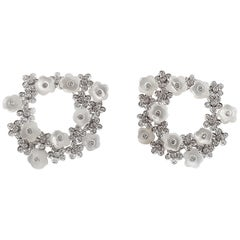 Fei Liu 18 Karat White Gold Stud Earrings with Mother of Pearls