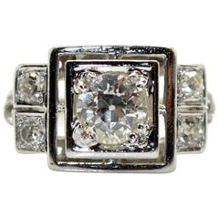 1920s French Art Deco 0.80 Carat Diamond Platinum Ring