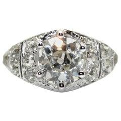 1920s French Art Deco 1.50 Carat Cushion Cut Diamond Platinum Ring
