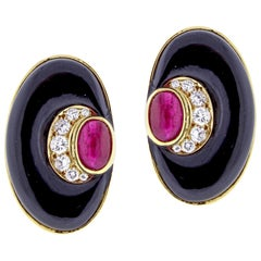 Bvlgari Diamond, Black Onyx and Ruby Earring