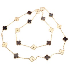 Van Cleef & Arpels Limited Edition Alhambra Bois D'amourette Rose Gold Necklace