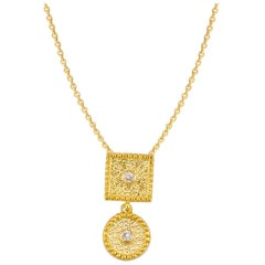 Georgios Collection 18 Karat Yellow Gold Small Diamond Pendant With Granulation