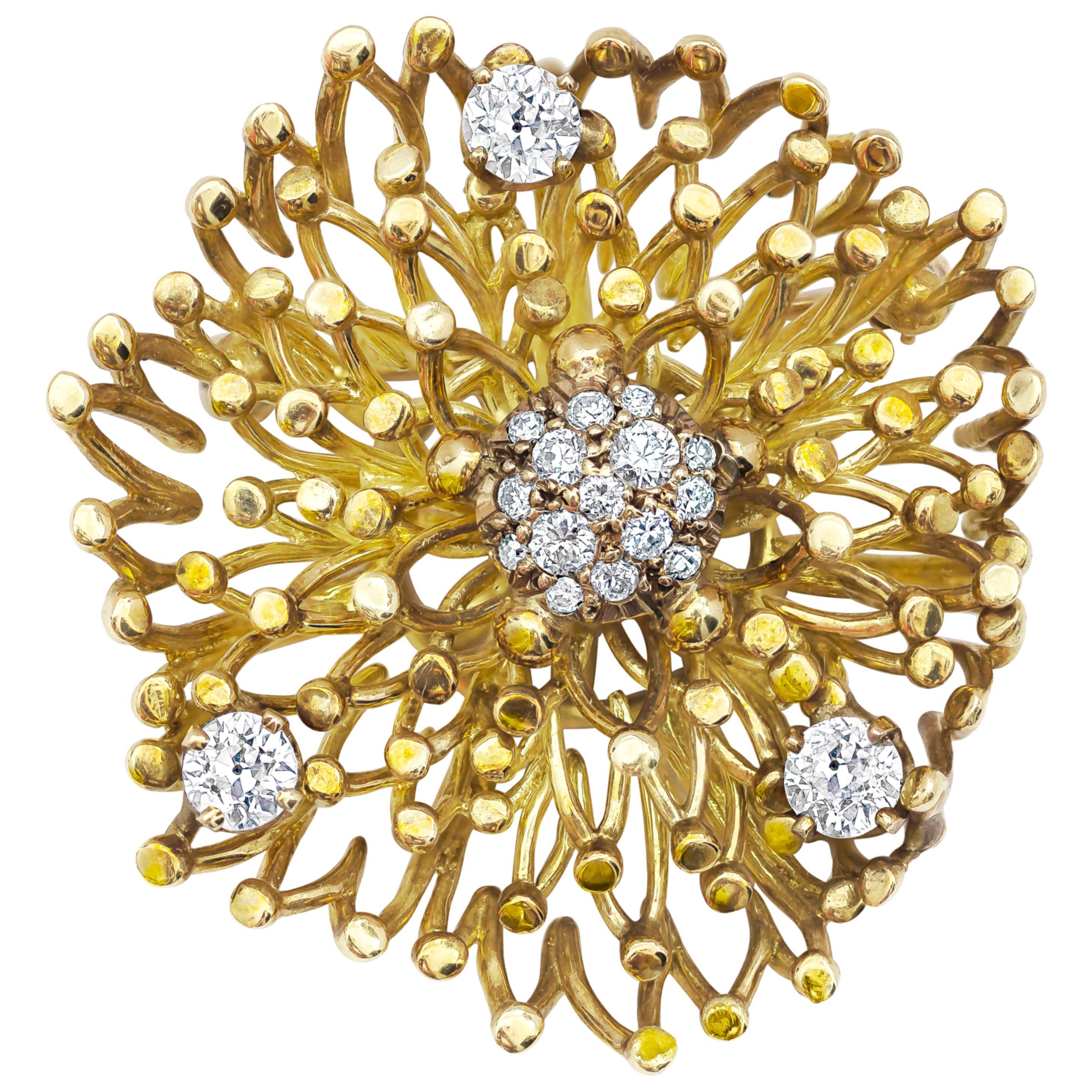 18 Karat Yellow Gold and Diamond Brooch
