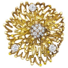 18 Karat Yellow Gold and Diamond Brooch